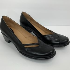 Clarks Black Leather Metti Pumps with Block Heel